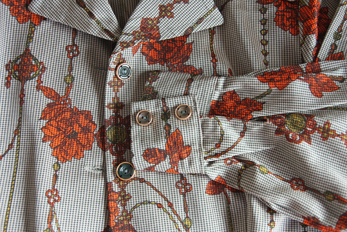 Grey and copper floral pattern dress 4