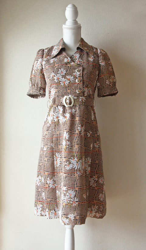 appuccino brown speckled daisy summer dress 1
