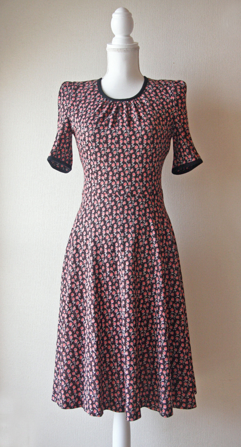 Chocolate brown Mannina Tokyo dress with small red flower print 1