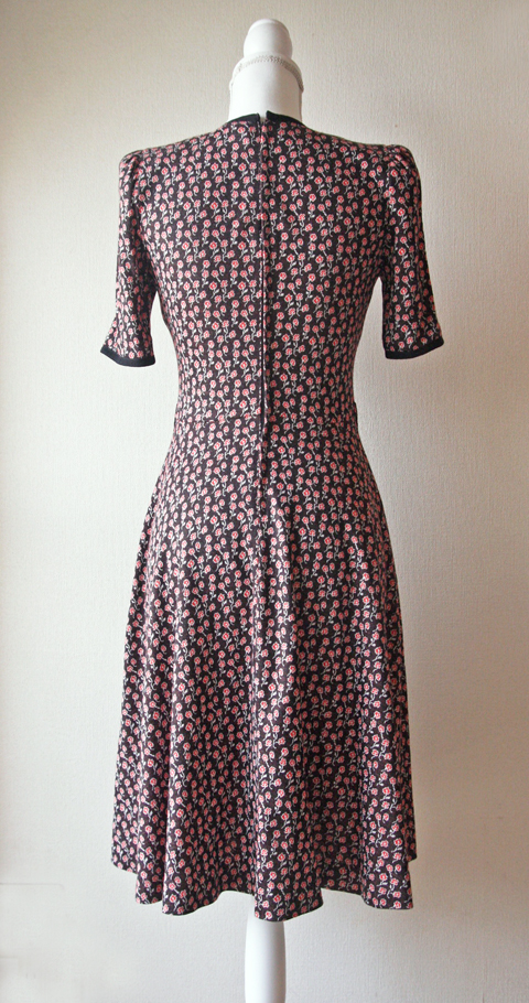 Chocolate brown Mannina Tokyo dress with small red flower print 2