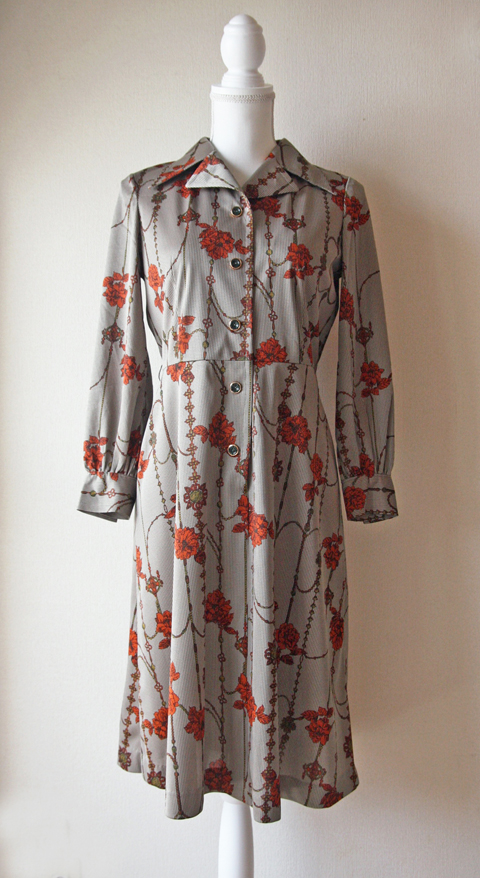 Grey and copper floral pattern dress 1