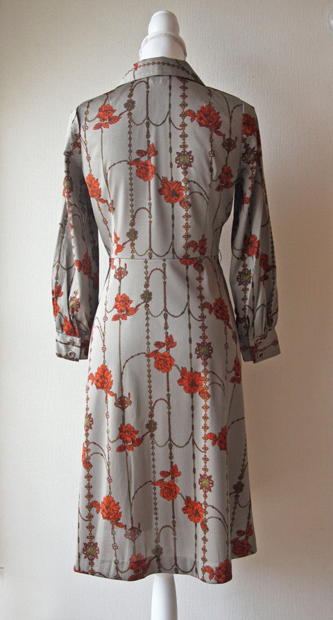 Grey and copper floral pattern dress 2