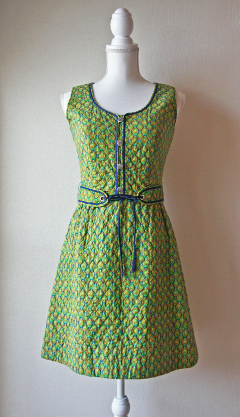 Lanz mini dress with green and blue honeycomb 1