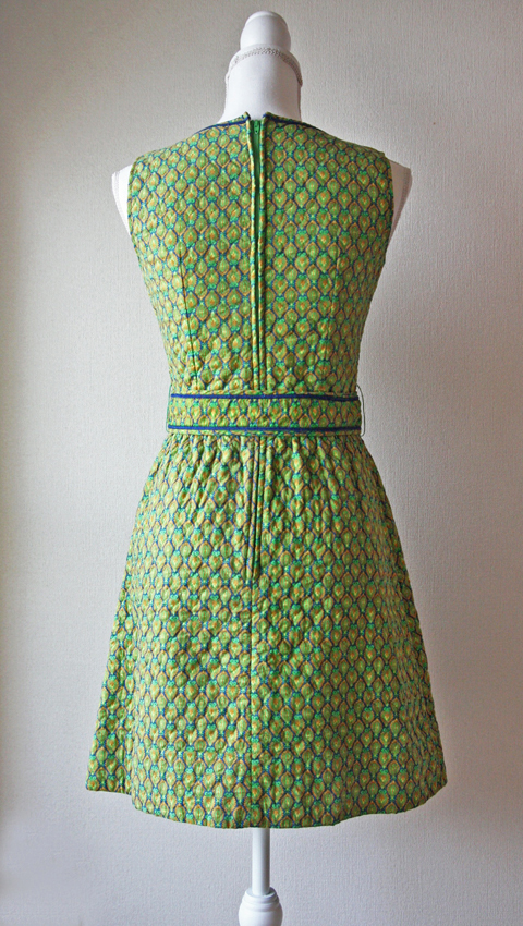Lanz mini dress with green and blue honeycomb 2