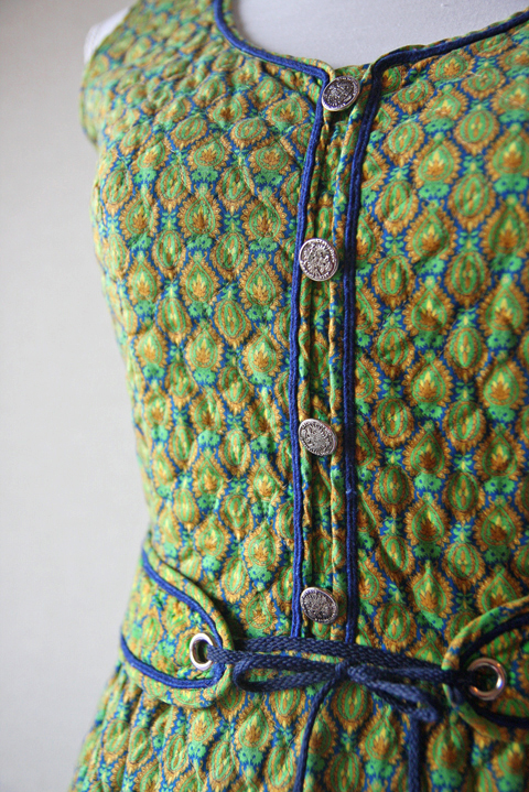 Lanz mini dress with green and blue honeycomb 3