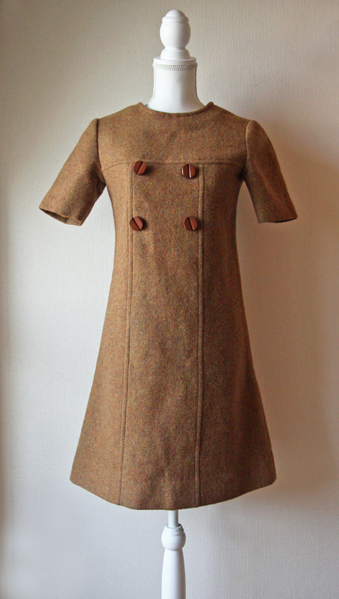 Tawny brown wool mini dress 1