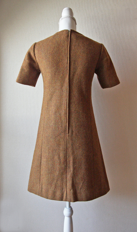 Tawny brown wool mini dress 2