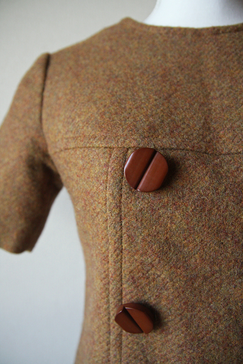 Tawny brown wool mini dress 3