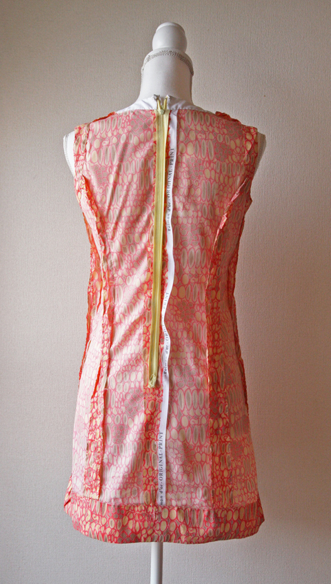 Very light sleeveless mini dress with pink novelty print 6