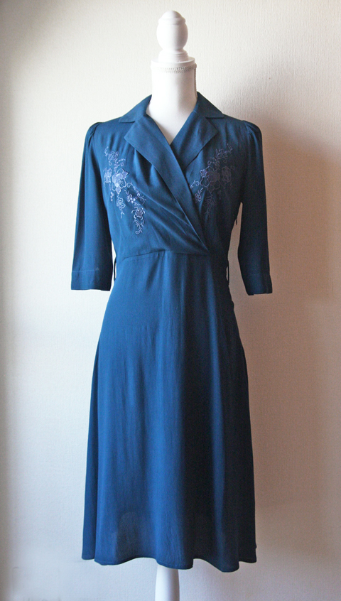 Petroleum blue cache-coeur dress 1