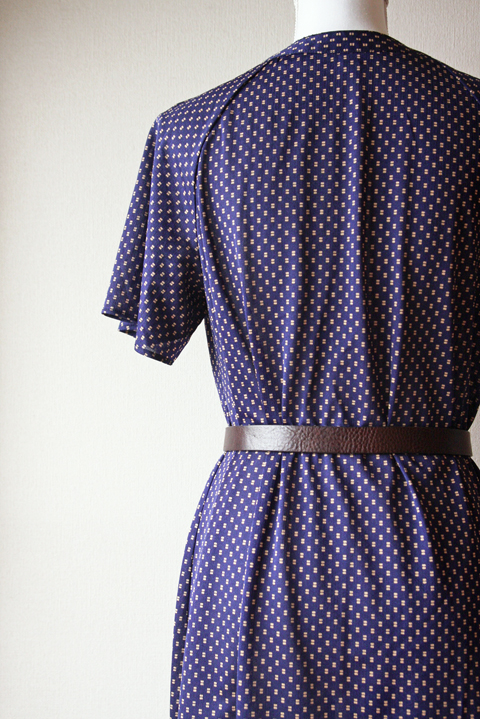 Deep night blue summer dress with small golden square pattern