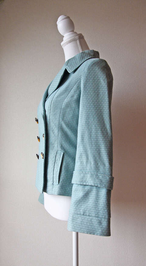 Mint green pleated collar spring jacket