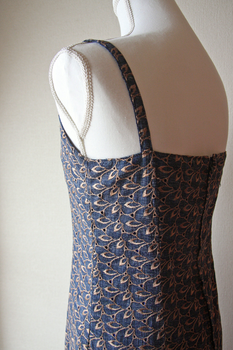 Blue and Brown sleeveless embroidered summer dress