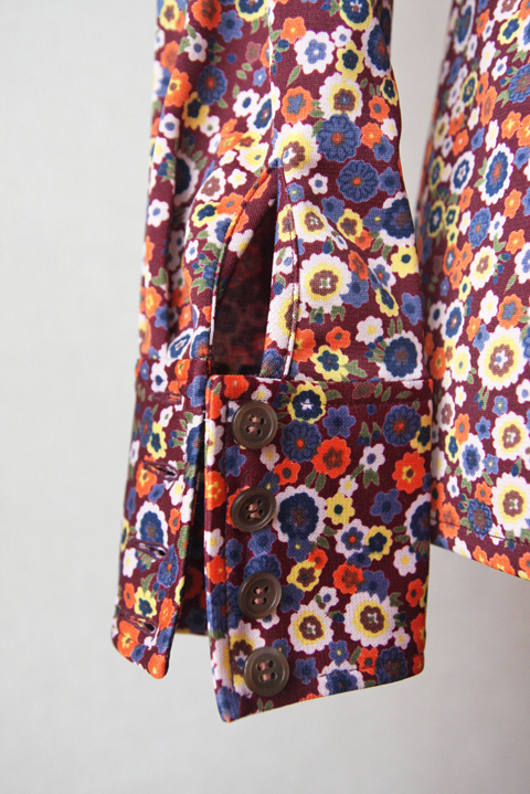 Orange and blue floral shirt with 4 button cuffs