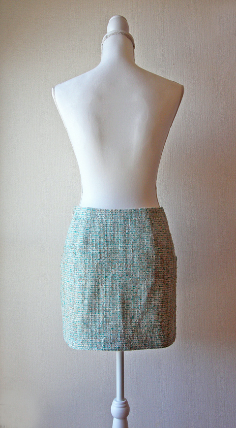 Pastel mint green tweed mini skirt