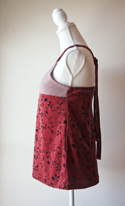 Wool and velvet rosewood pink halter top