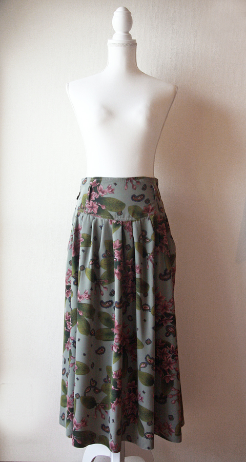 Olive and lilac long pleated skirt 1