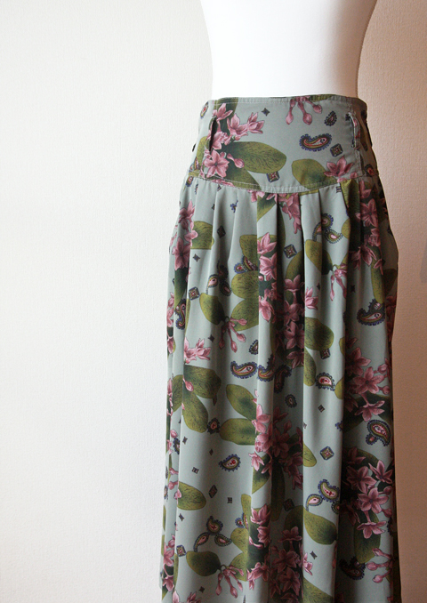 Olive and lilac long pleated skirt 2