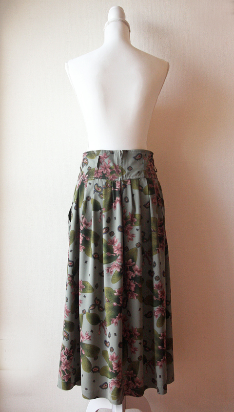 Olive and lilac long pleated skirt 5
