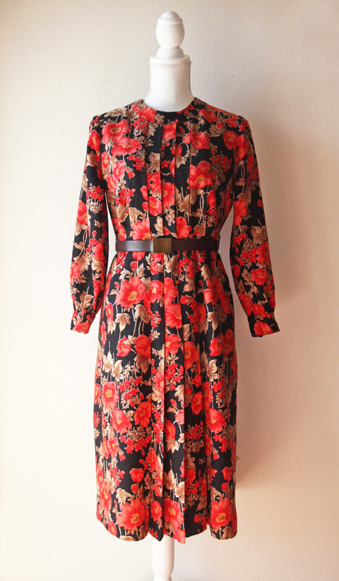 Red and black floral wool dress 1