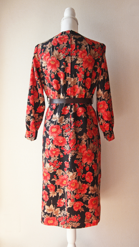 Red and black floral wool dress 3