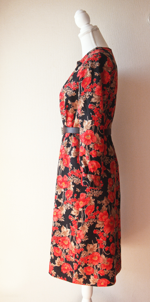 Red and black floral wool dress 4
