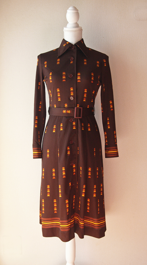 Brown and orange fitted shirt dress 1