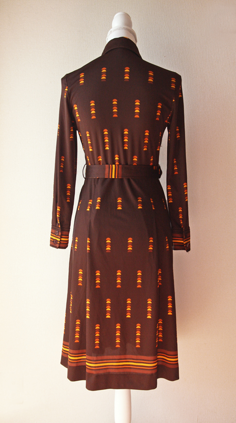 Brown and orange fitted shirt dress 2