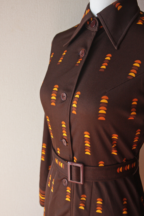 Brown and orange fitted shirt dress 3