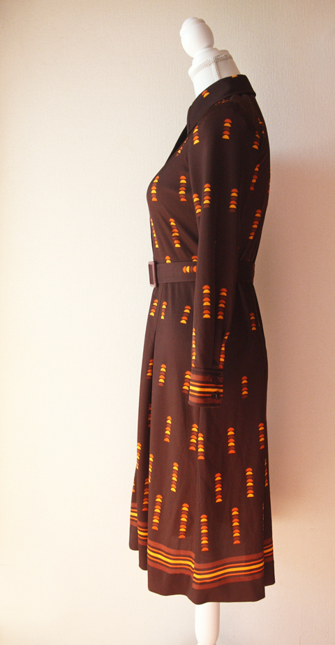 Brown and orange fitted shirt dress 4