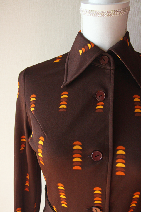 Brown and orange fitted shirt dress 5