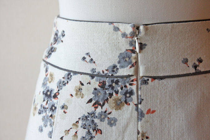 Rouge Vif cream and blue floral skirt 4