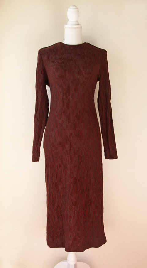 Claudia Rame long burgundy wool sheath dress 1