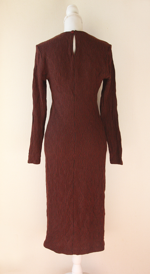 Claudia Rame long burgundy wool sheath dress 3