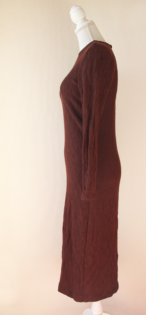 Claudia Rame long burgundy wool sheath dress 5