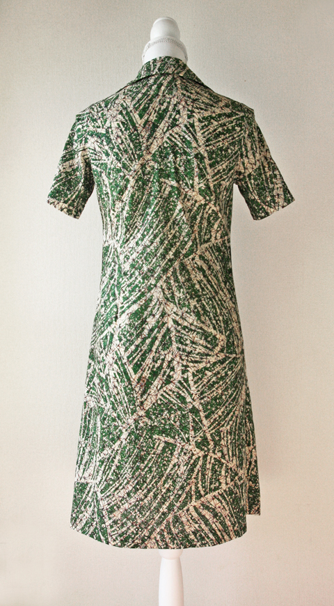 Handmade green and cream brushstroke batik summer dress 2