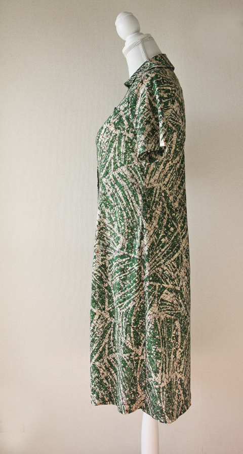 Handmade green and cream brushstroke batik summer dress 4