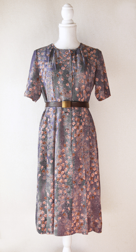 Old pink and pigeon blue handmade floral dress 1