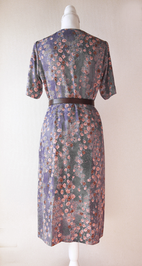 Old pink and pigeon blue handmade floral dress 2