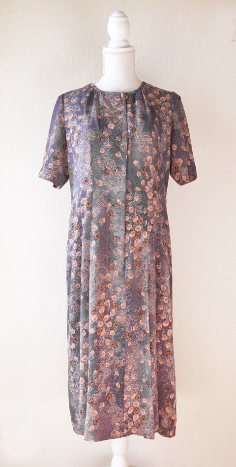 Old pink and pigeon blue handmade floral dress 4