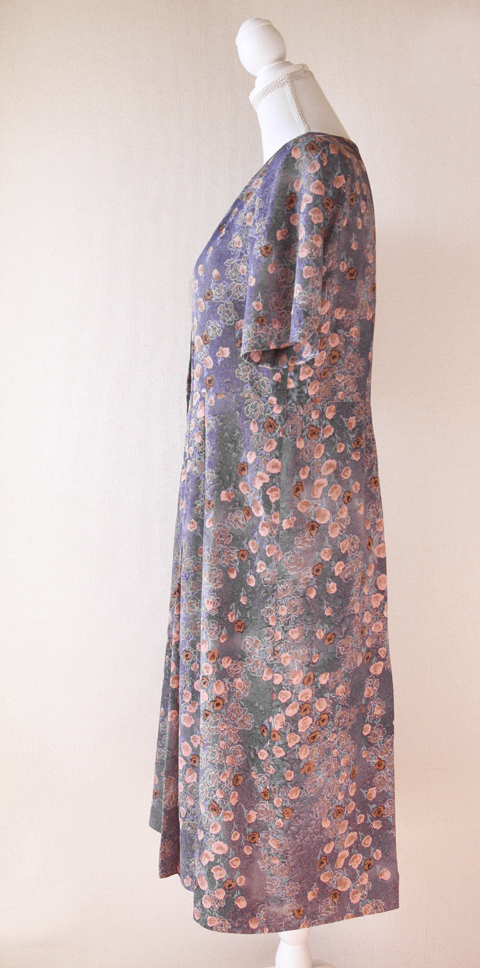 Old pink and pigeon blue handmade floral dress 5