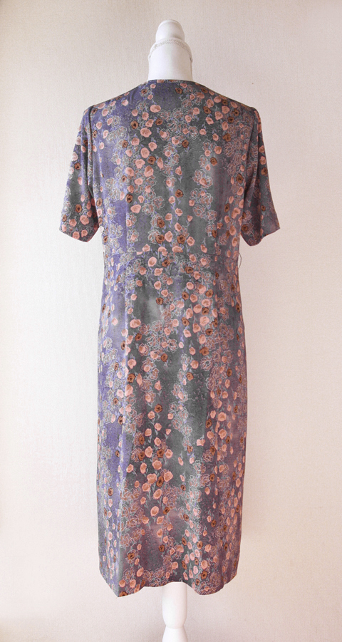 Old pink and pigeon blue handmade floral dress 6