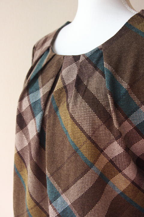 Release plaid and pleated neckline blouse 6