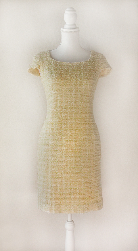 Kimijima Boutique yellow boucle tweed dress