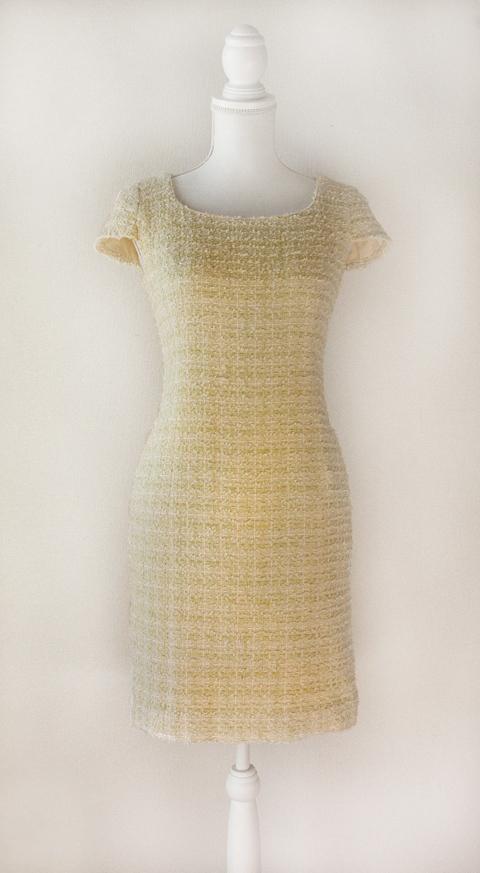 Kimijima Boutique yellow boucle tweed dress