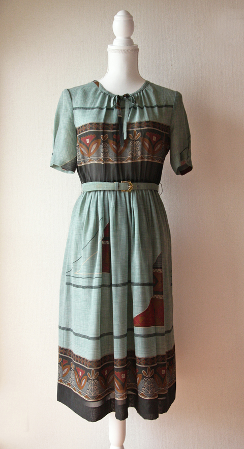 Canna aqua green summer dress with art deco pattern