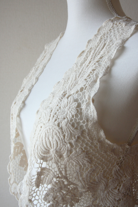 Mouth Valley light cream crochet lace vest