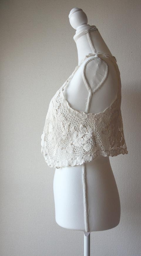 Mouth Valley light cream crochet lace vest