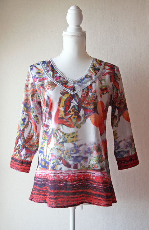 Otto Collection colourful butterfly blouse