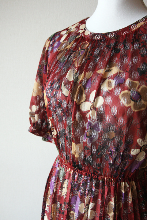Renown Look burgundy floral see through pleated dress